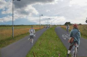Photo montage illustrating the layout of the new cycle and walking route
