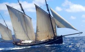 The 64ft Cornish lugger Grayhound, a re-creation of a design of 1796, recently delivered 6 tons of Monaghan-brewed Irish craft beer from Cork to Granville in Normandy
