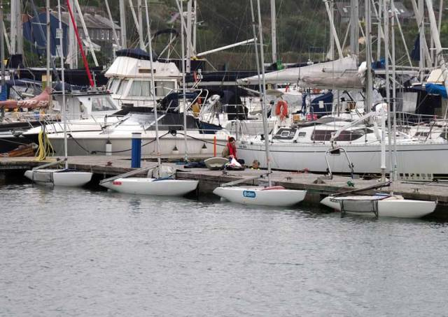 Four of the ten 2.4m moored in Kinsale this morning