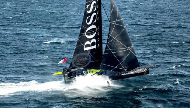 Hugo Boss doing what she does best – zooming offwind on the foils