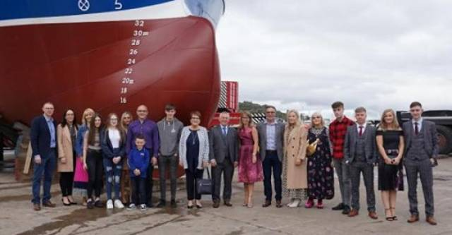The Johnston and Mooney families at the ceremonial launch of the MFV Amethyst in Killybegs.