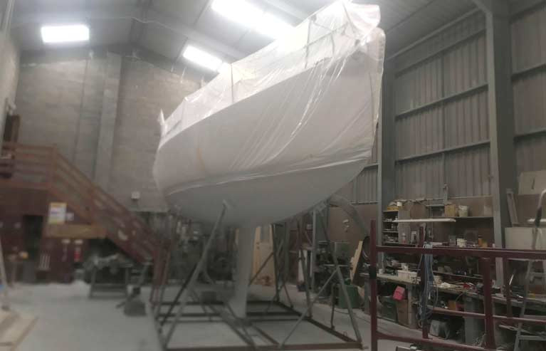 Welsh J109 Mojito has been in a Pwllheli shed since March for a hull bottom refinish but nothing can be done in lockdown