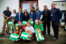 The European Optimist Team at Malahide Yacht Club which includes NYC sailors Leah Rickard, Nathan van Steenberge, Rocco Wright and  Sam Ledoux