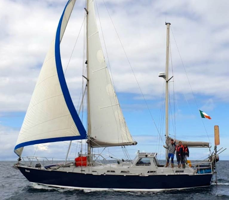 The Quinlan-Owens family's ocean-voyaging Roberts 39 ketch Danu of Galway is expected shortly back in the familiar waters of Connacht