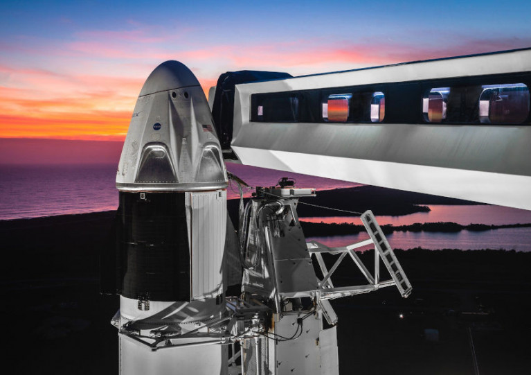 The Dragon capsule atop Falcon 9 that will take astronauts to the ISS in the first commercial spaceflight with humans