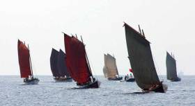 During the weeks contest the 38ft wooden gigs will be sailed and rowed