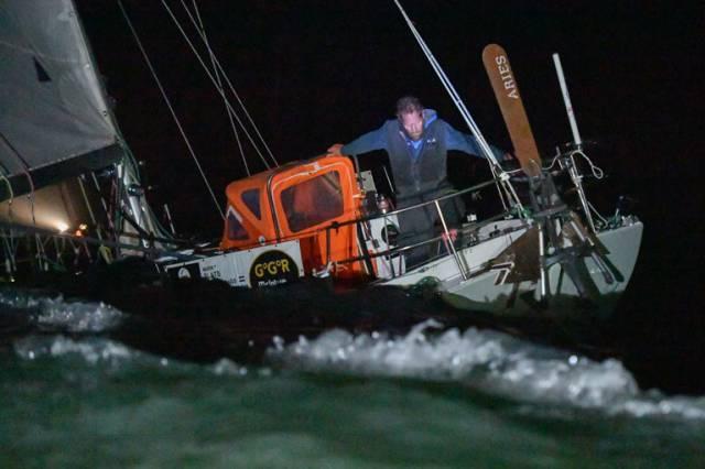 Mark Slats arriving off Les Sables d'Olonne to take 2nd place in the 2018 Golden Globe Race last night