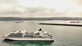 When Three Becomes A Crowd: Stena Nordica within the Port of Fishguard and where cruiseship AIDAvita (left) is a scheduled caller to the Welsh port. Whereas Seabourn Quest (foreground) made a call to the scenic Pembrokeshire location at short notice and also took anchorage offshore.