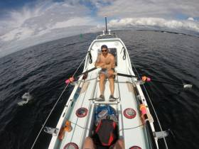 Gavan Hennigan training on the boat he will row across the Atlantic from this December
