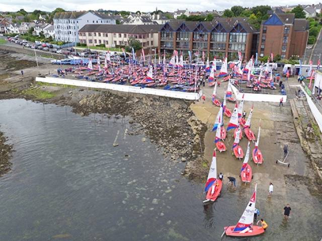 The Topper Worlds 2016 fleet launches at Ballyholme on Belfast Lough