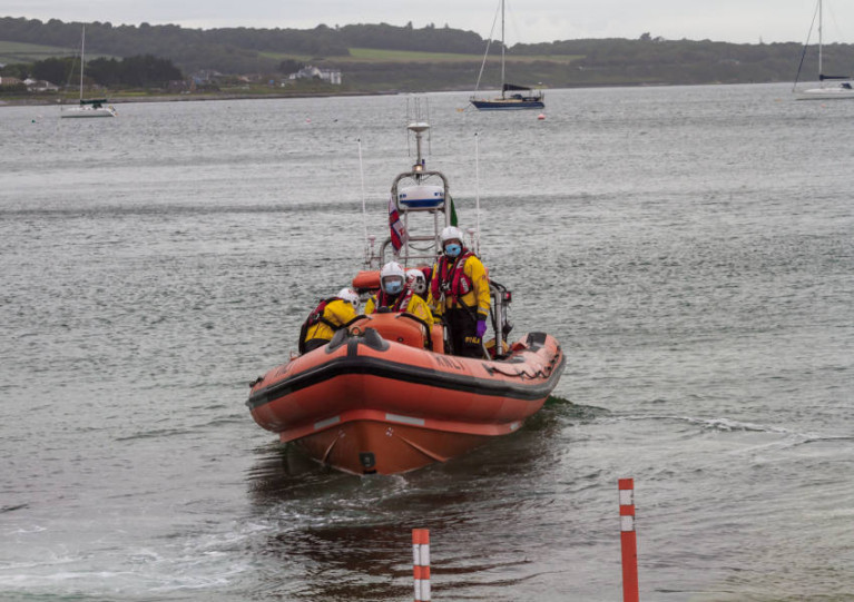 Skerries RNLI crew after dropping the jet ski at the slipway