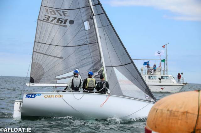 Colin Galavan, Owen Laverty and PJ Cully of the RIYC and RStGYC are competing in this weekend's SB20 National Championships on Dublin Bay