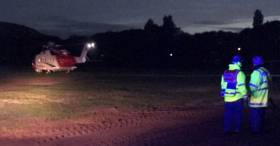 The scene early yesterday morning of the Coastguard helicopter
