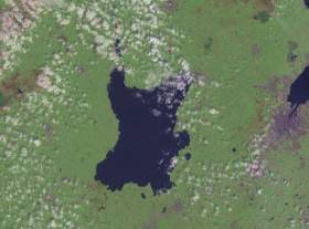 Satellite view of Lough Neagh, the largest freshwater lake in the island of Ireland