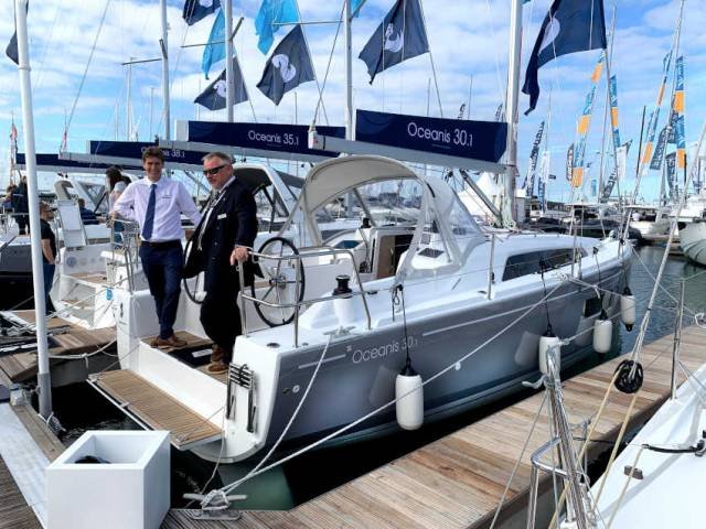The Oceanis 30.1 on display in the Beneteau Sailing Village at the Southampton International Boat Show now