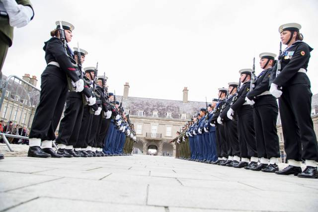 Female members of Defence Forces Guard of Honour commemorate role of women in 1916 Rising