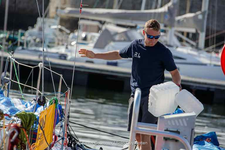 Kenny Rumball on board RL Sailing before the start of the Solo Concarneau Race
