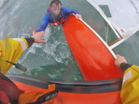The dinghy sailor is rescued by Bangor RNLI after getting into difficulty in Ballyholme Bay