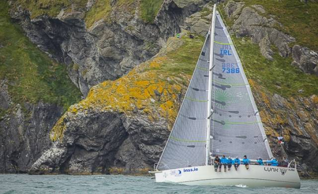Kenneth Rumball with the Reflex 38 Lynx of the Irish National Sailing School in Dun Laoghaire has made a particularly good job of coming through the North Channel and the Irish Sea, and is now among those off the Wicklow coast facing the struggle to the pier head finish.