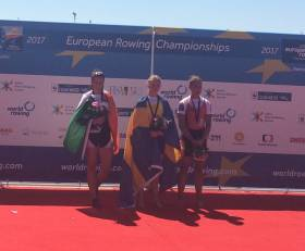Denise Walsh with her silver medal. Emma Fred took gold and Patricia Merz bronze
