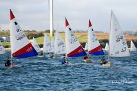Royal Cork's Topper dinghies racing in the Cork Harbour club's November Frostbite Series