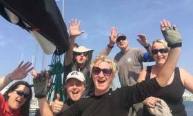 Peter Hall's Adelie crew celebrate Salt Race success in Spain