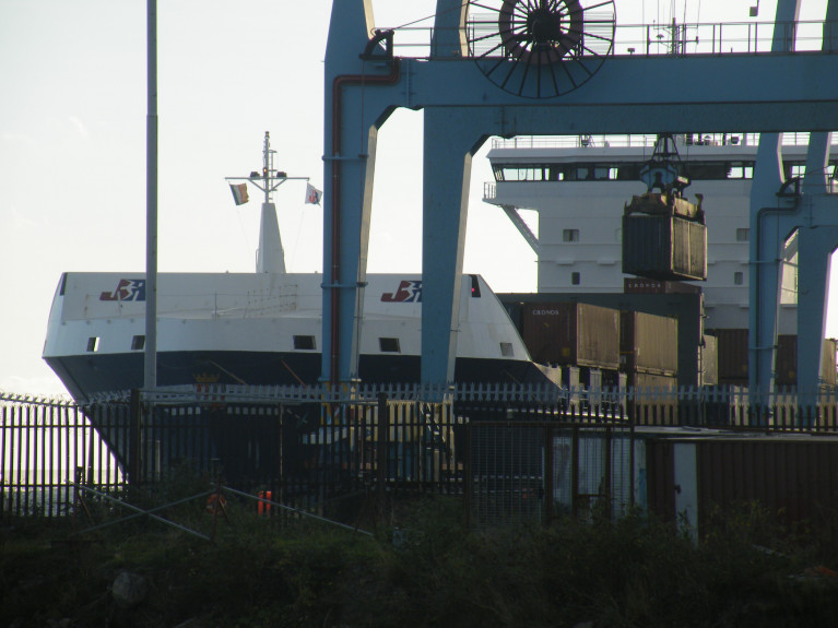 A container ship berthed at a Lo-Lo terminal in Dublin Port