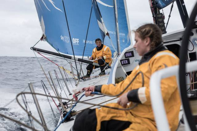 Day 4 of Leg 6 on board Turn the Tide on Plastic, as Liz Wardley and Bianca Cook rig up some new sheets