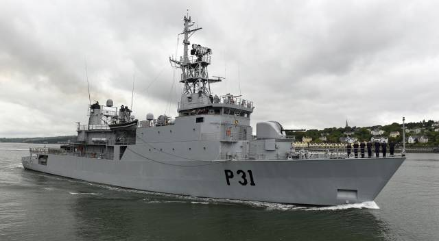 Minister denied two Naval Service ships were docked over crew shortages, citing 'maintenance'. Above AFLOAT adds is one of the two patrol vessels involved, flagship LÉ Eithne seen underway in 2017 off Cobh, Cork Harbour. The HPV was then heading for its 3rd deployment to the Mediterranean Sea to assist in humanitarian operations.