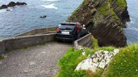 The car blocking the only path to the pier at Dunquin was removed at lunchtime