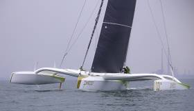 US sailor, Lloyd Thornburg, sailing his MOD 70 Phaedo 3 off Dun Laoghaire yesterday