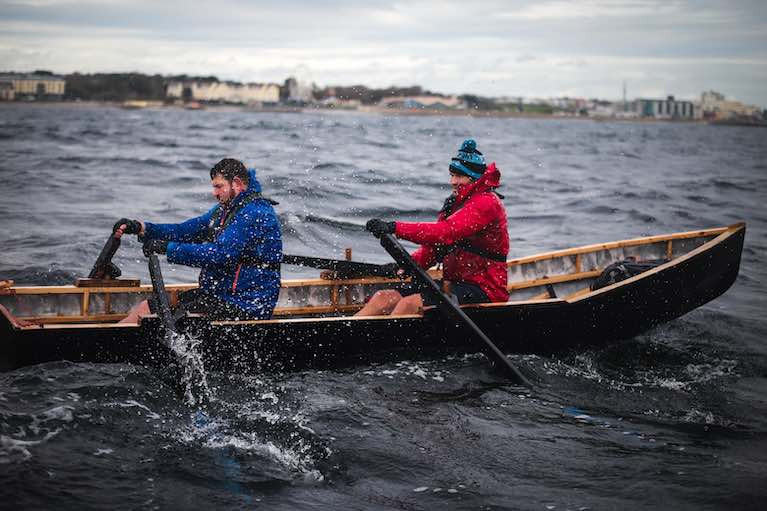 Fergus Farrell and Damian Browne crossing from Aran Islands to Galway this week