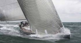 Michael Cotter's handsome 78ft Reichel-Pugh designed Whisper comes roaring out of Dublin Bay, on her way to establishing the course record for the Dun Laoghaire-Dingle Race in 2009