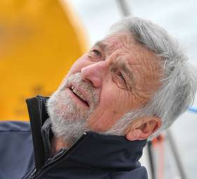 Jean-Luc van den Heede: the veteran skipper has kept his cool - and his lead. He is expected to finish the 30,000 mile Golden Jubilee Race non-stop round the world tomorrow morning (Tuesday) at Les Sables-d'Olonne