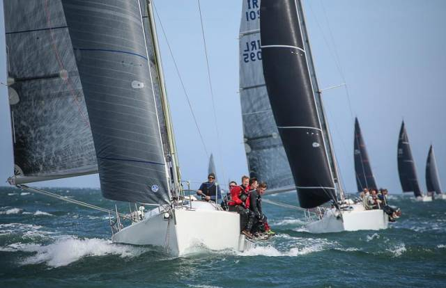 East coast champion Andrew Algeo skppering Juggerknot from the Royal Irish Yacht Club leads a clutch of J109's into division one of June's Wave Regatta at Howth Yacht Club