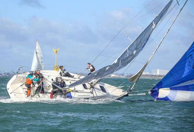 J109 Dear Prudence on the edge after gybing in Sunday's Spring Chicken Race on Dublin Bay. See gallery below