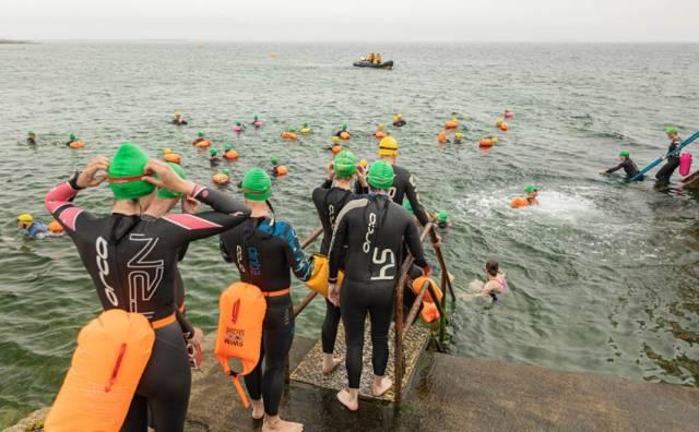 Galway Bay swimmers in the water at Blackrock in Salthill