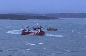 Baltimore RNLI launches during Storm Hannah
