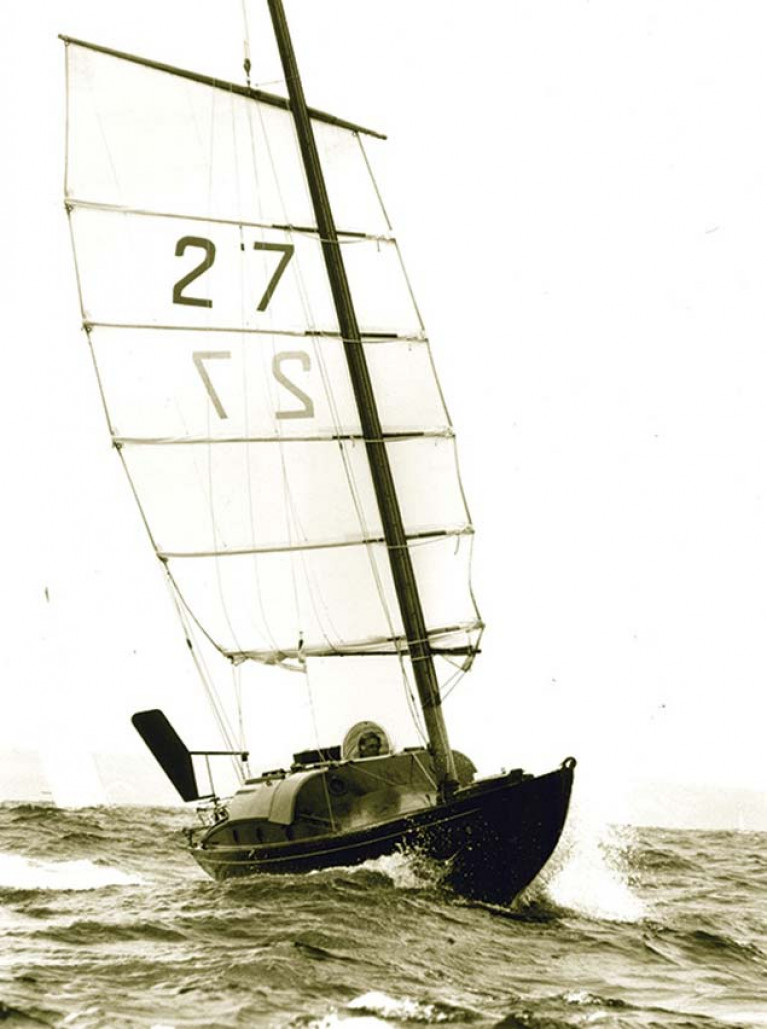 The Folkboat Jester as created by solo pioneer Blondie Hasler to set an easily-handled Chinese junk-style rig. Jamie & Mary Young of Killary Adventure Centre sailed her across the Atlantic for their honeymoon cruise