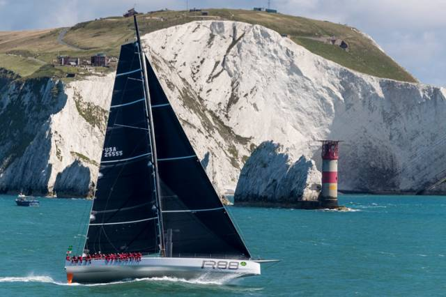 Rambler 88 – after a slow rounding of Land's End, she has found better speeds close-reaching along the eastern edge of the Traffic Separation Zone off west Cornwall, and is leading the monohulls on the water and resumed climbing the ranks in IRC handicap.