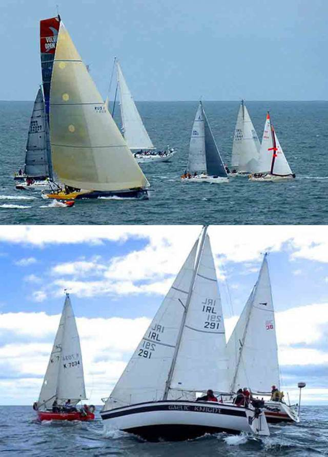 Two contrasting images reflecting the wide-ranging activities of Wicklow Sailing Club. Above, the Volvo 70 Monster Project, line honours winner in the 2014 Round Ireland Race while under charter to WSC member David Ryan, comes roaring in to the start at a real rate of knots while (below) life returns to normal with the weekly summer's evening race for local cruisers.