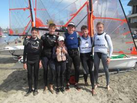 The Irish 29er Team and training partners pictured in LA with Johnny, wearing trapeze harness, pictured third from right