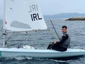 Finn Lynch in his new Laser dinghy in Palma. The Rio veteran is currently second overall in his 187-boat fleet