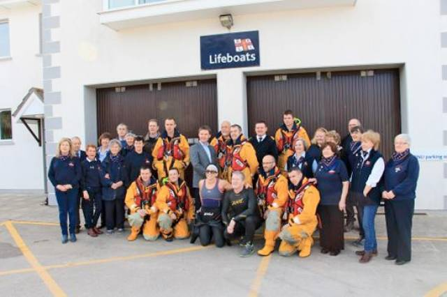 John Brennan with the volunteer lifeboat crew, fundraisers, supporters and guests at Dunmore East RNLI