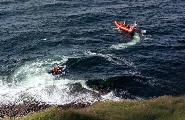 The casualty vessel under tow by Mullaghmore RNLI