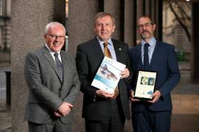 Marine Institute CEO Dr Paul Connolly (left) presents Marine Minister Michael Creed (centre) with this year's Stock Book