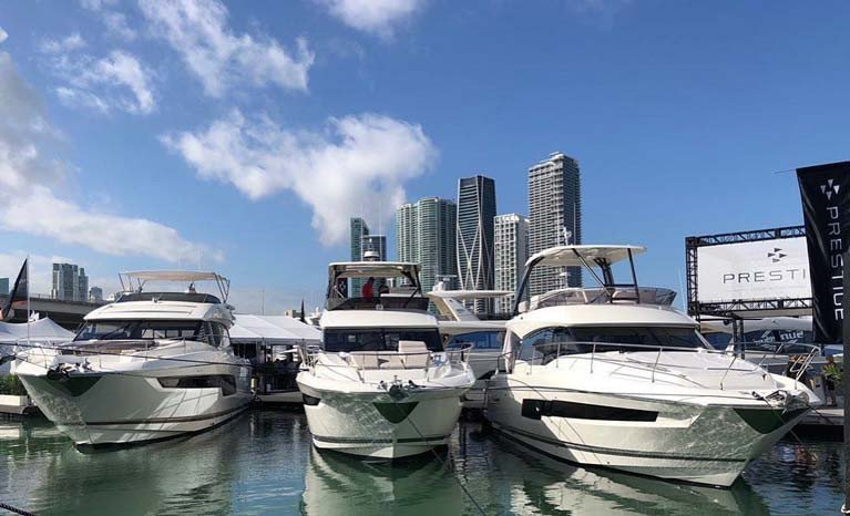 If it's February, it must be Miami…..this weekend sees two boat shows at full steam ahead in Miami, and Gerry & Martin Salmon of MGM Boats of Dun Laoghaire are with the Prestige array in the Miami Yacht Show.
