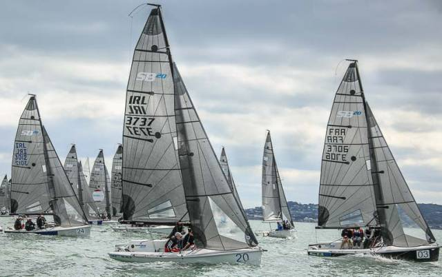 47 SB20s start race two of their European Championships on Dublin Bay with IRL 3737 Black (James Gorman) pictured centre