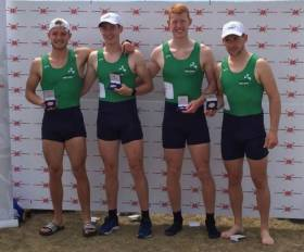The Ireland senior men's four which won at the Home International Regatta in Cardiff.
