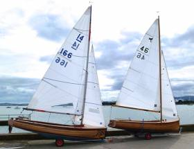 New boats to a classic design. On the waterfront at Clontarf, the IDRA 14 Wicked Sadie (left) and the Waldringfield Dragonfly Phoenix (right) are both 2016-completed to an O'Brien Kennedy design with its origins in 1938
